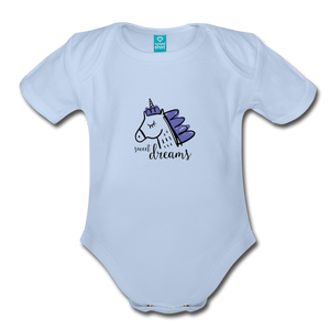 Unicorn (purple) Organic Short Sleeve Baby Bodysuit - sky