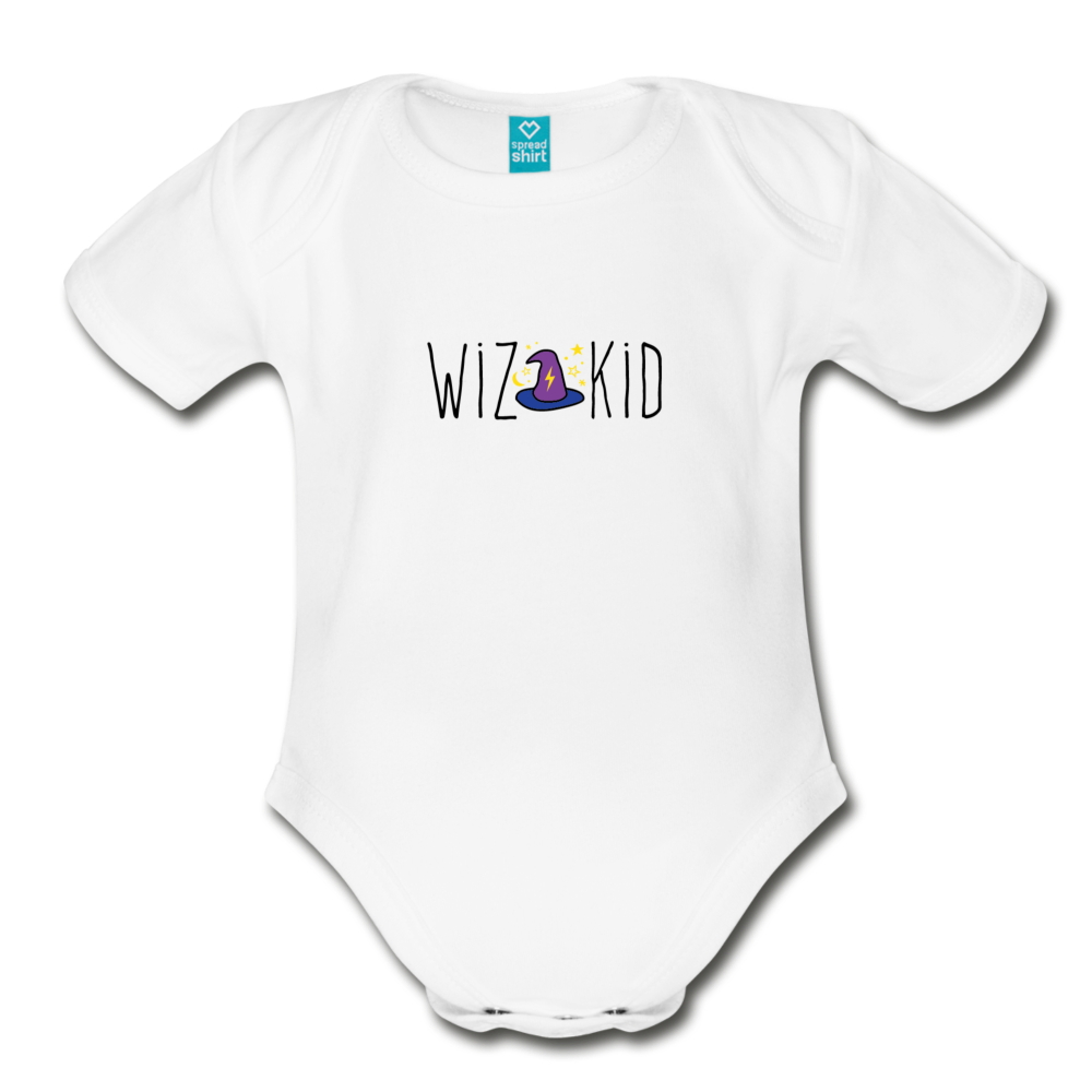 Wiz Kid (light) Organic Short Sleeve Baby Bodysuit - white