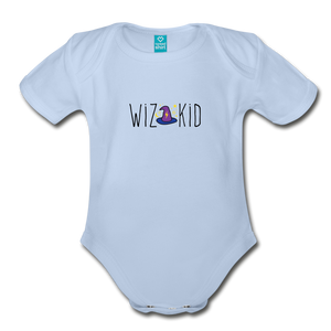 Wiz Kid (light) Organic Short Sleeve Baby Bodysuit - sky