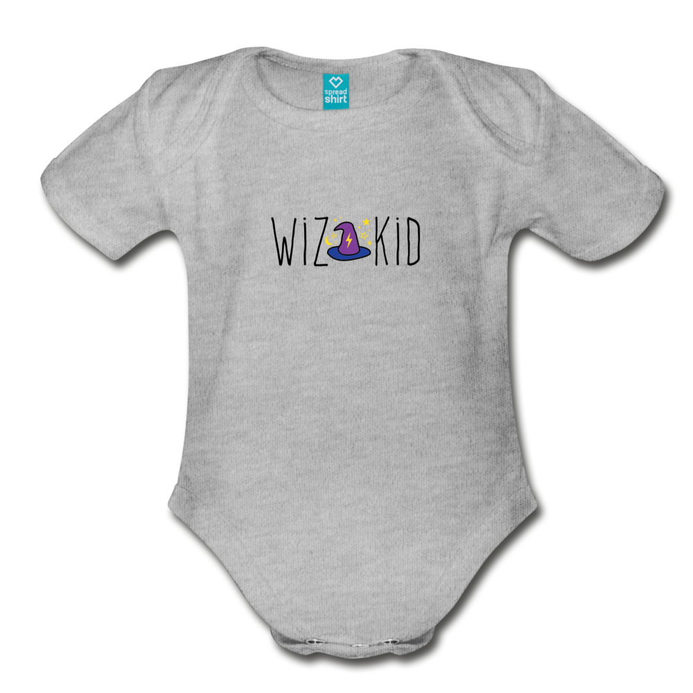 Wiz Kid (light) Organic Short Sleeve Baby Bodysuit - heather gray