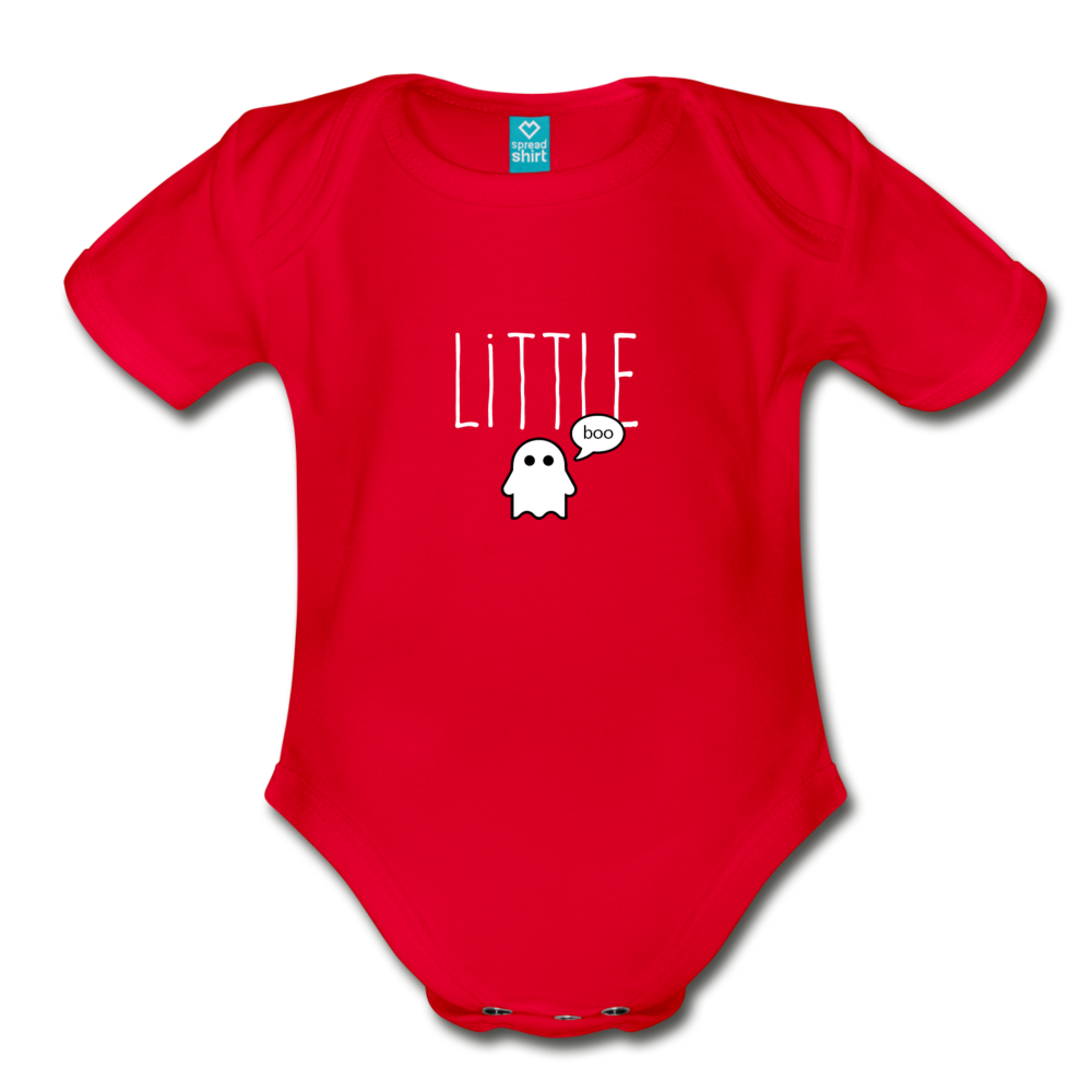 Little Boo (dark) Organic Short Sleeve Baby Bodysuit - red