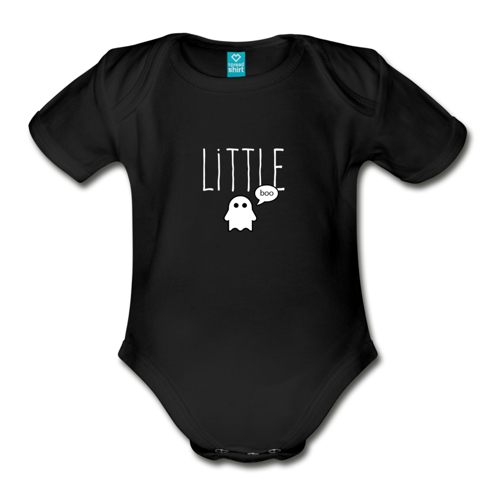 Little Boo (dark) Organic Short Sleeve Baby Bodysuit - black