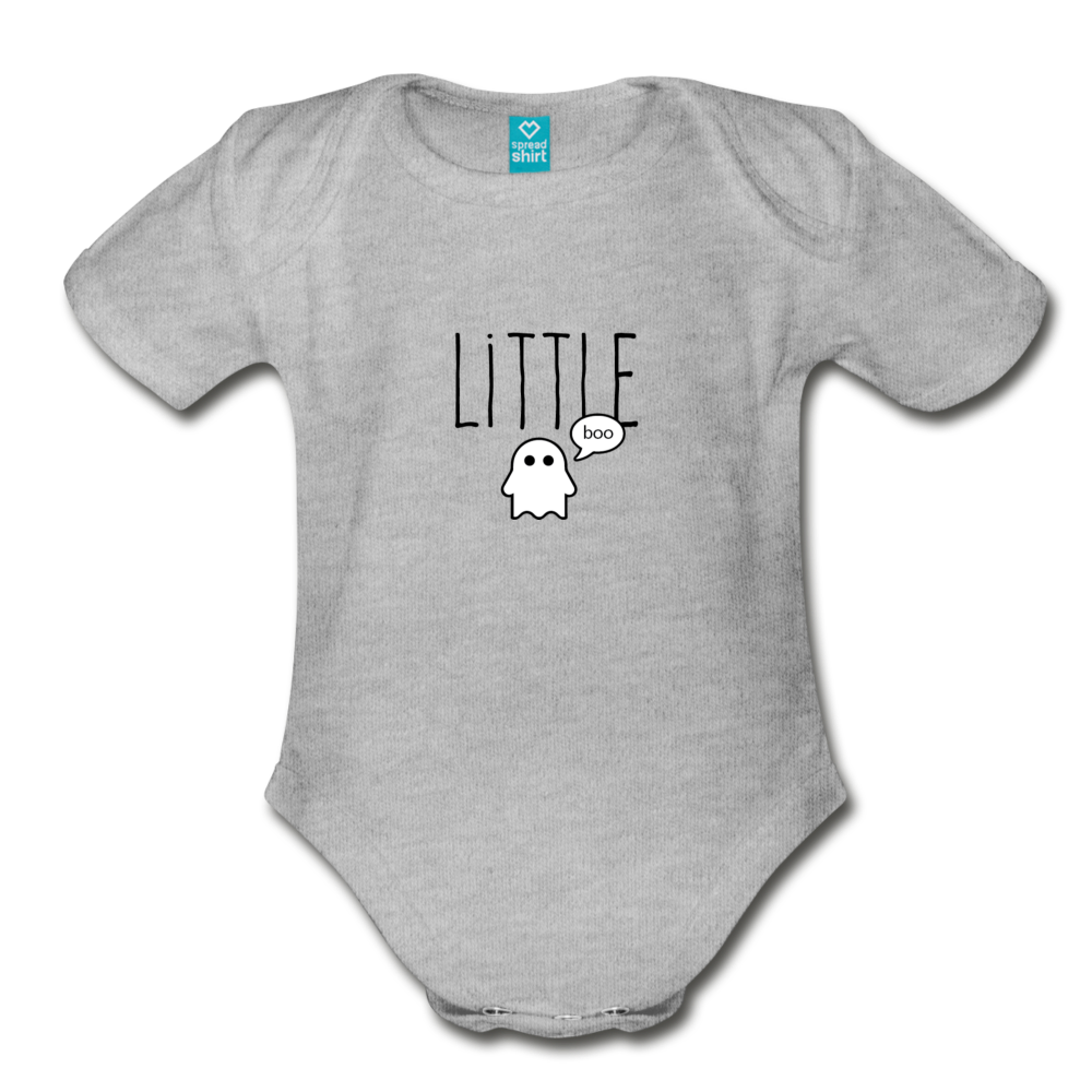 Little Boo Organic Short Sleeve Baby Bodysuit - heather gray