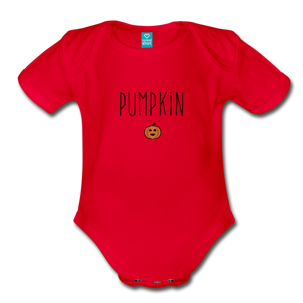 Lil Pumpkin Organic Short Sleeve Baby Bodysuit - red