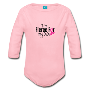 Fierce For Gigi Breast Cancer Awareness Organic Long Sleeve Baby Bodysuit - light pink
