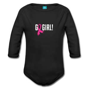 Go Girl Breast Cancer Awareness Organic Long Sleeve Baby Bodysuit (dark) - black