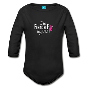 Fierce For GiGi Breast Cancer Awareness Organic Long Sleeve Baby Bodysuit 9dark) - black