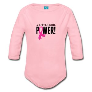 Little Girl Power Breast Cancer Awareness Organic Long Sleeve Baby Bodysuit - light pink