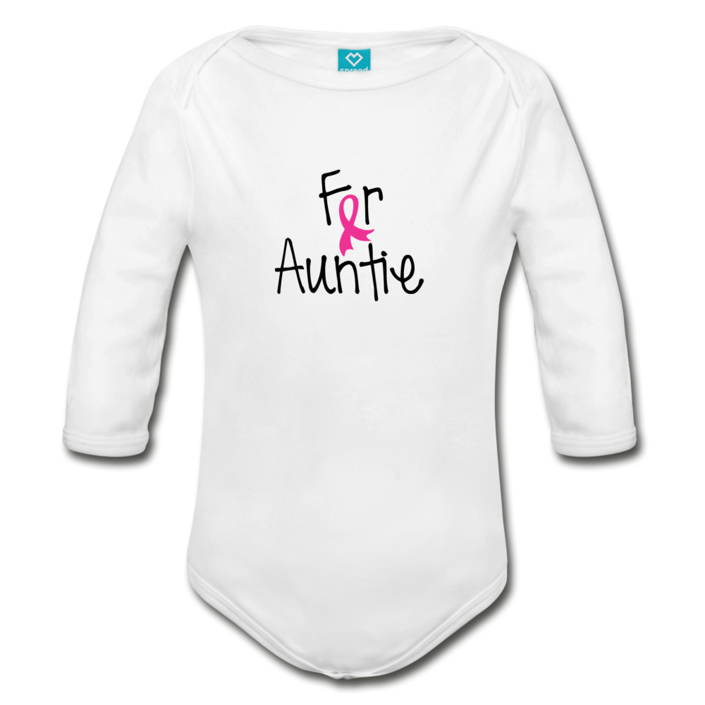 For Auntie Breast Cancer Awareness Organic Long Sleeve Baby Bodysuit - white