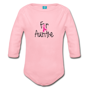 For Auntie Breast Cancer Awareness Organic Long Sleeve Baby Bodysuit - light pink