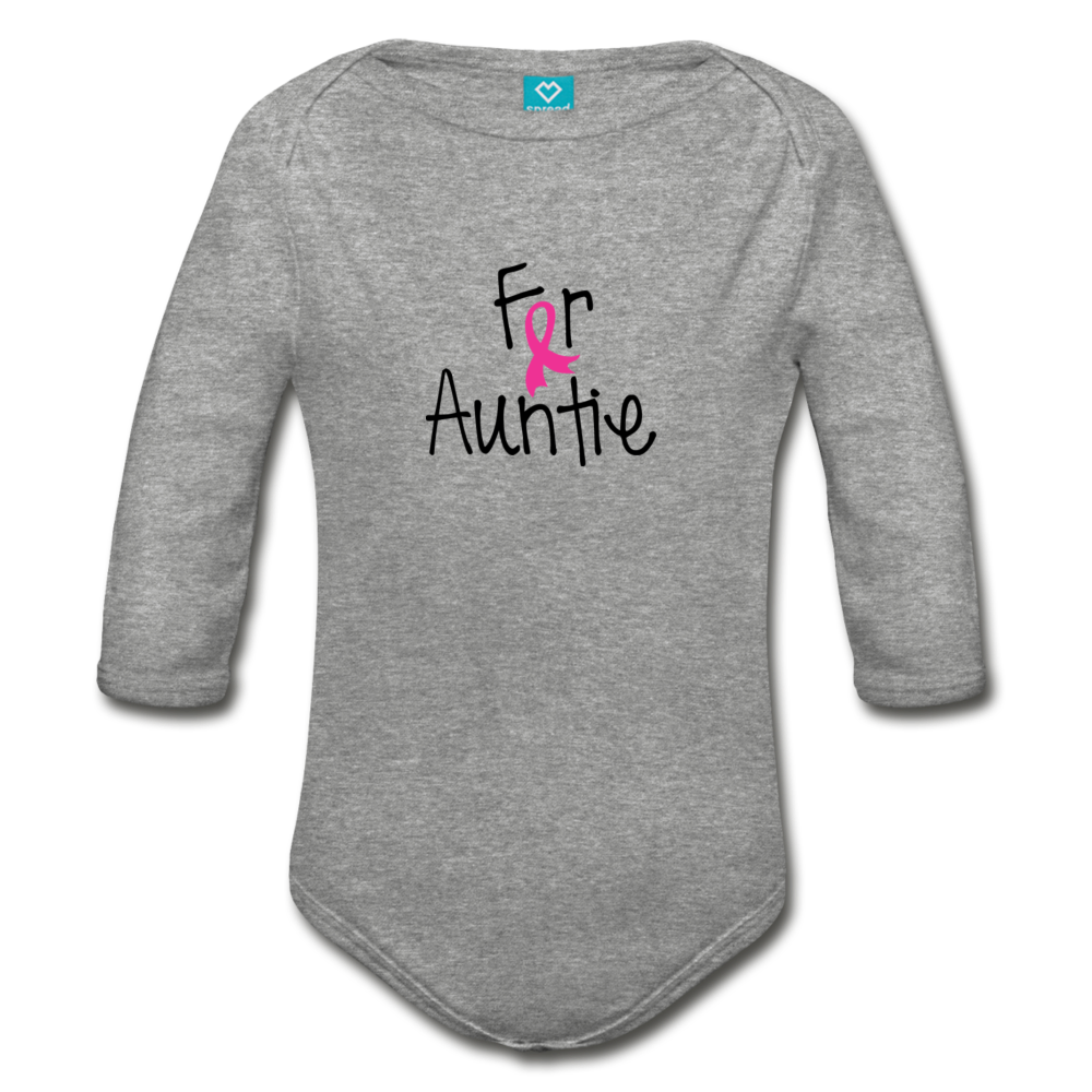For Auntie Breast Cancer Awareness Organic Long Sleeve Baby Bodysuit - heather gray