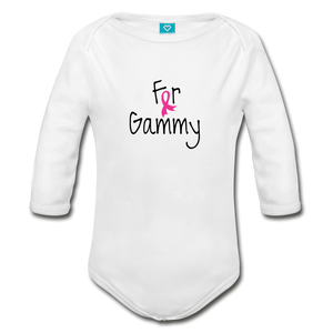 For Gammy Breast Cancer Awareness Organic Long Sleeve Baby Bodysuit - white