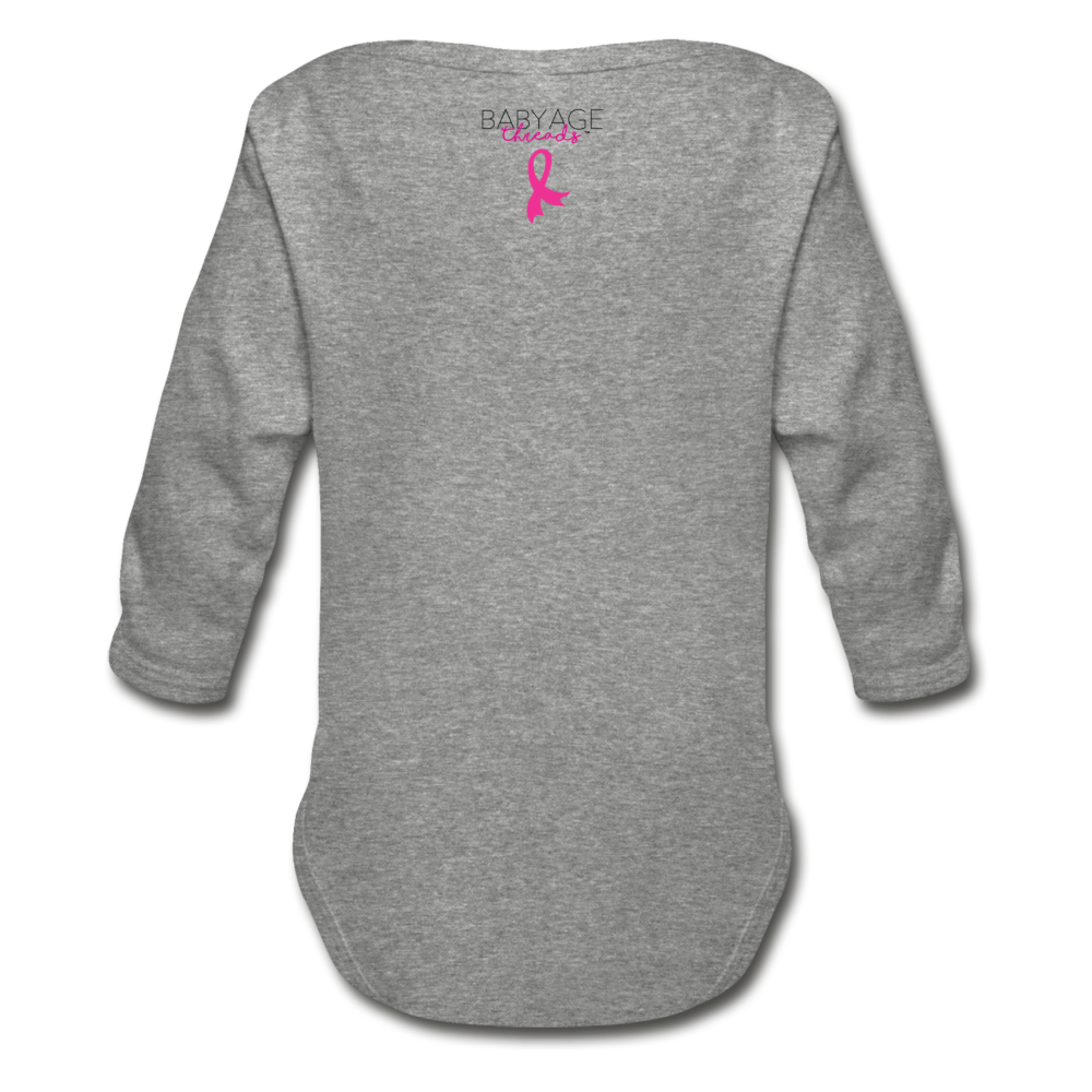 For Gammy Breast Cancer Awareness Organic Long Sleeve Baby Bodysuit - heather gray