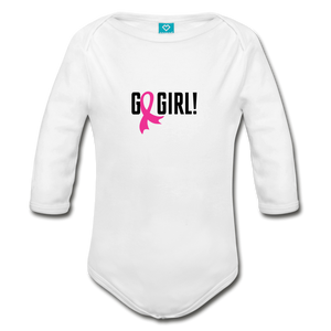 Go Girl Breast Cancer Awareness Organic Long Sleeve Baby Bodysuit - white
