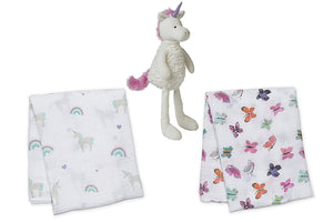 Talls 'N Smalls Unicorn and lulujo Unicorns & Rainbows and Butterfly Muslin Swaddling Blankets
