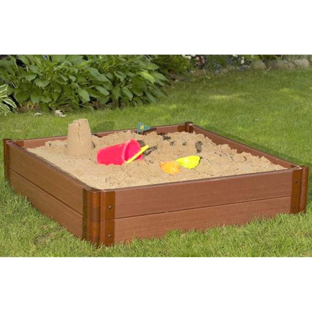 "Tool-Free Classic Sienna 4ft. x 4ft. x 11in. Composite Square Sandbox Kit - 1"" profile"
