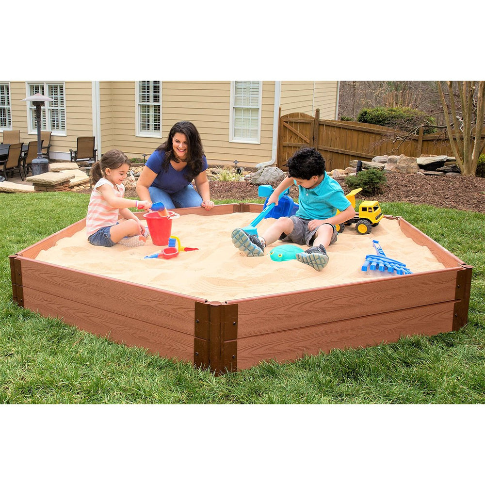 "Tool-Free Classic Sienna 7ft. x 8ft. x 11in. Composite Hexagon Sandbox Kit - 1"" profile"