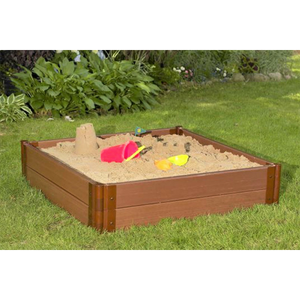 "Tool-Free Classic Sienna 4ft. x 4ft. x 11in. Composite Square Sandbox Kit - 2"" profile"