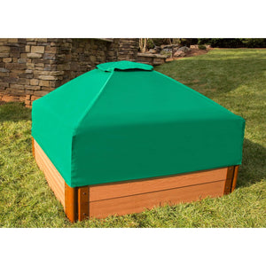 "Tool-Free Classic Sienna 4ft. x 4ft. x 11in. Composite Square Sandbox Kit with Telescoping Canopy/Cover - 2"" profile"