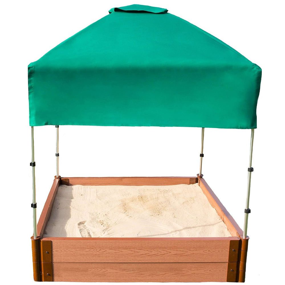 Two Inch Series 4ft. x 4ft. x 11in. Composite Square Sandbox Kit with Canopy/Cover