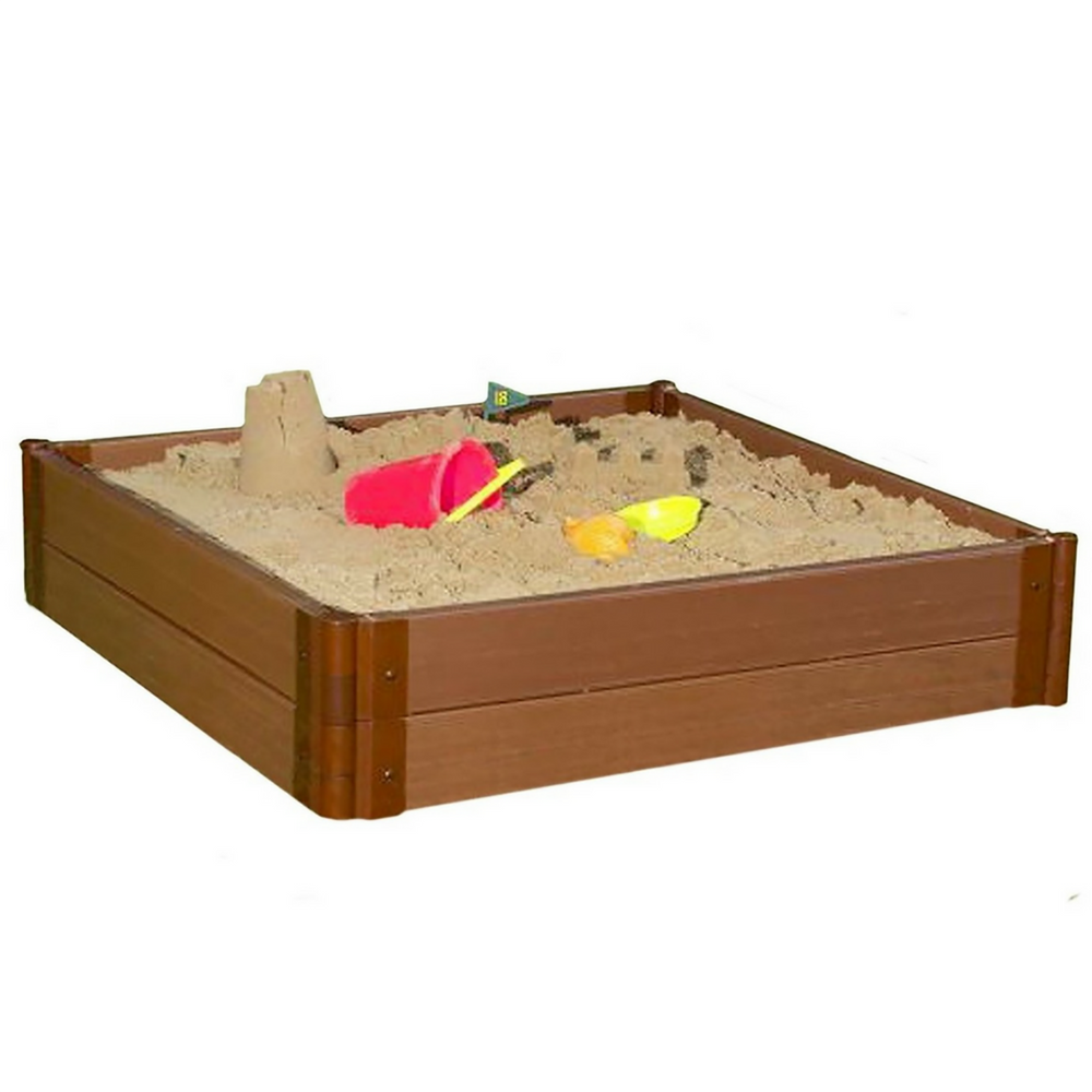 Two Inch Series 4ft. x 4ft. x  11in. Composite Square Sandbox Kit with Collapsible Cover