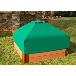 "Tool-Free Classic Sienna 4ft. x 4ft. x  11in. Composite Square Sandbox Kit with Collapsible Cover - 2"" profile"