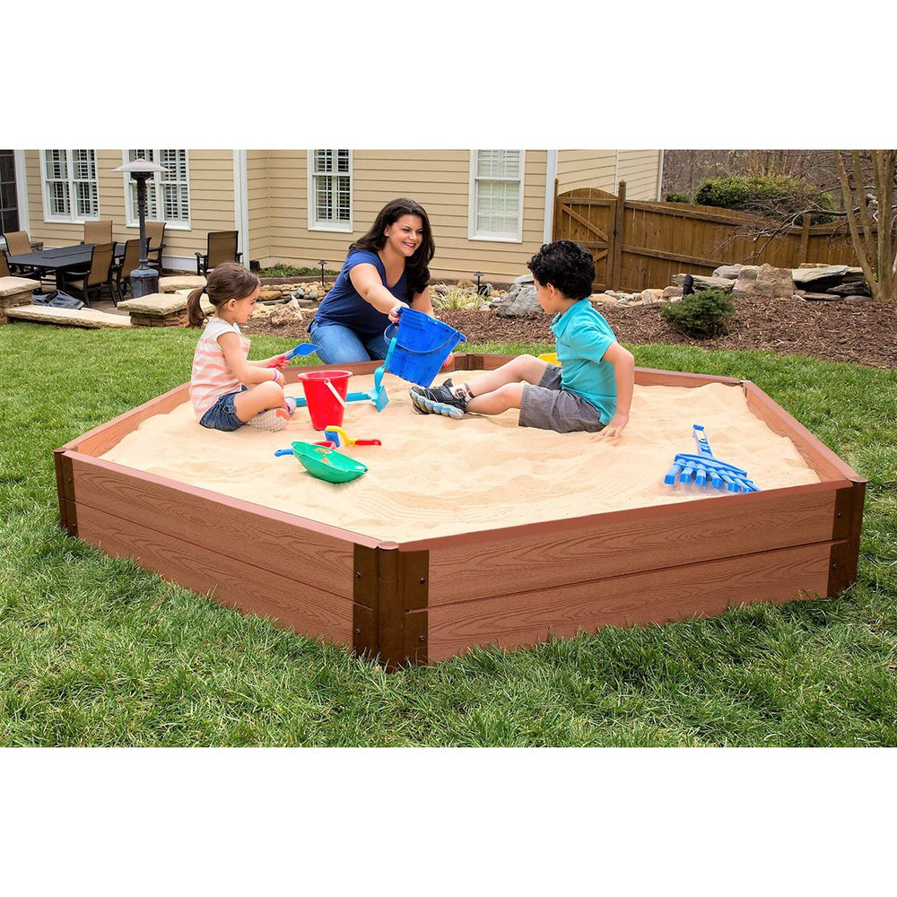 Two Inch Series 7ft. x  8ft. x 11 in. Composite Hexagon Sandbox Kit with Collapsible Cover