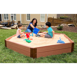 "Tool-Free Classic Sienna 7ft. x 8ft. x 11in. Composite Hexagon Sandbox Kit - 2"" profile"