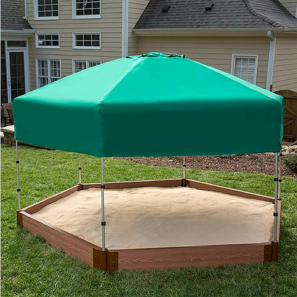 "Tool-Free Classic Sienna 7ft. x  8ft. x 5.5 in. Composite Hexagon Sandbox Kit with Telescoping Canopy/Cover - 2"" profile"