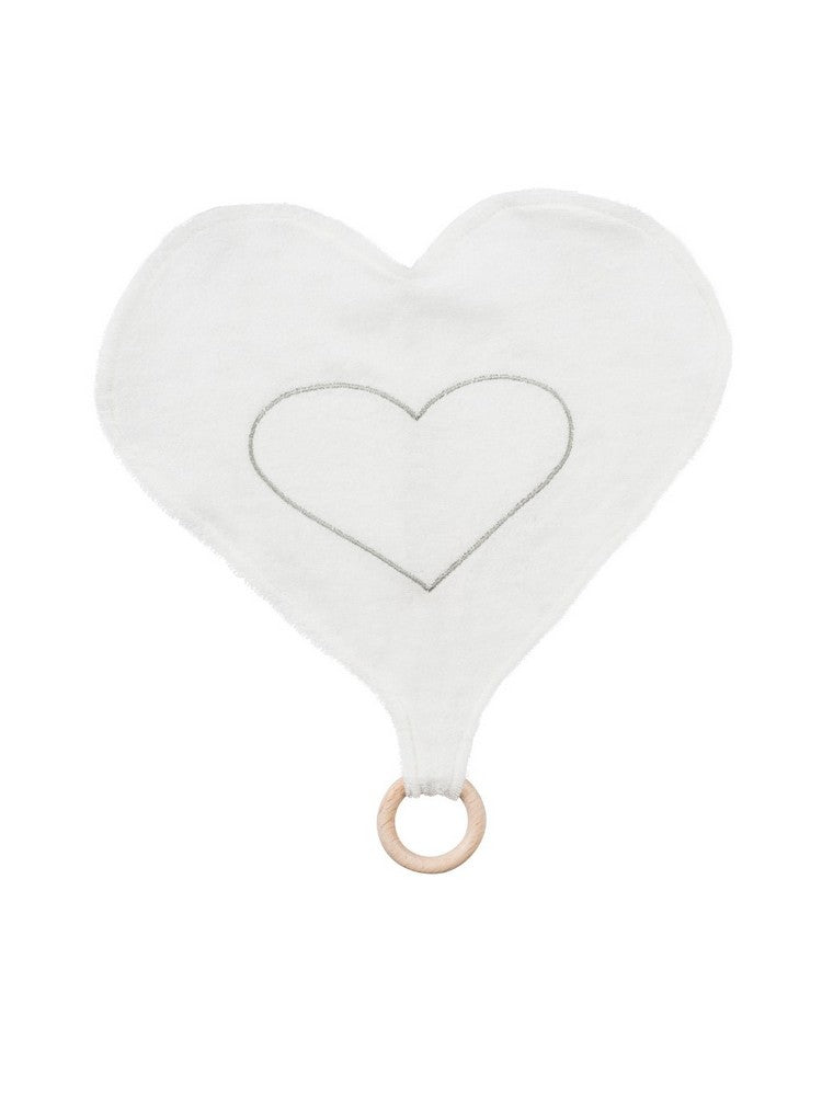Under the Nile Baby Heart Lovey with Teething Ring Toy 13""