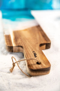 Acacia wood cheese paddle board