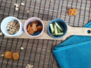 Wooden Paddle with Mini Snack Bowls