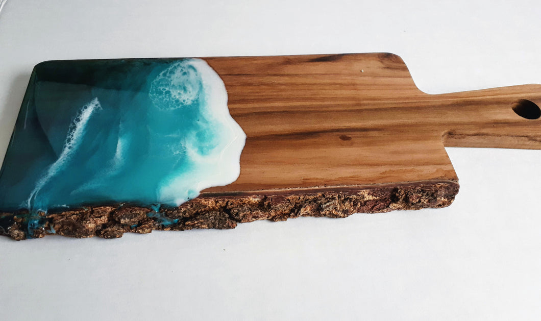 Live edge acacia wood cheese paddle board