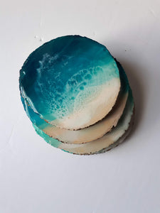 """Deep Blue Coastline"" coaster set of 4"