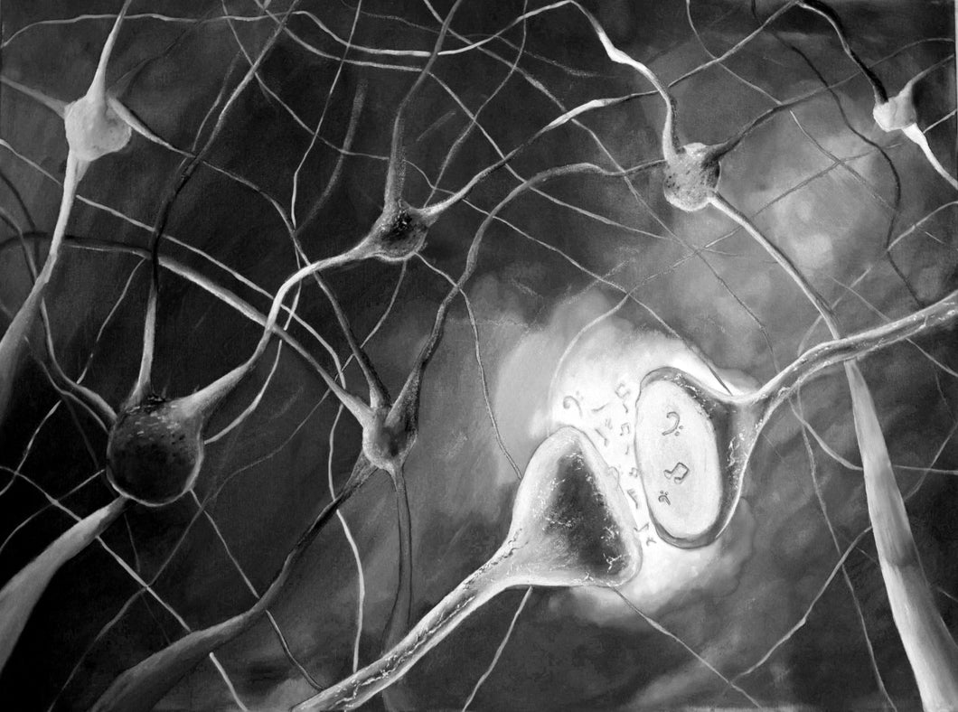 Treble Cleft (Synaptic Cleft + Treble Clef) B&W Canvas Print