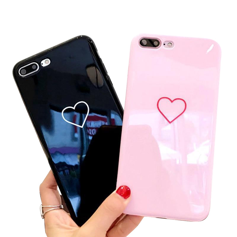 2290972b3f Love Heart Smile Case For iPhone 7 8 Plus Couple Letter Phone Cases For iPhone  X ...