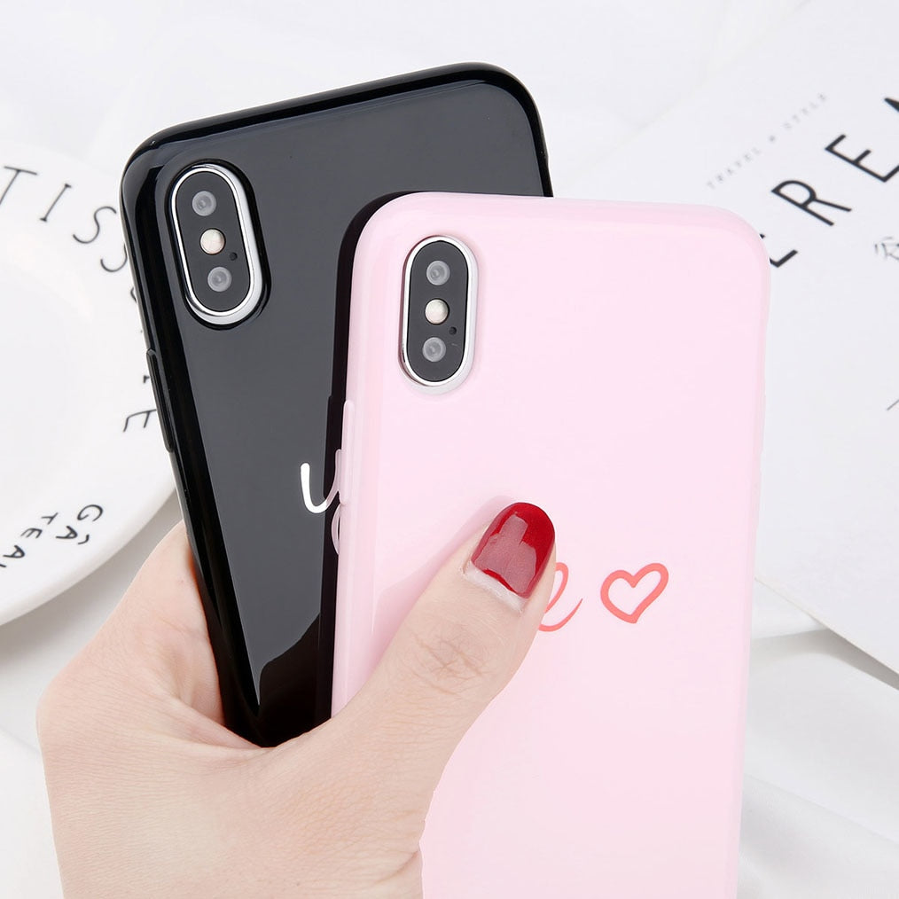 ce6b8a5c1f ... Love Heart Smile Case For iPhone 7 8 Plus Couple Letter Phone Cases For iPhone  X