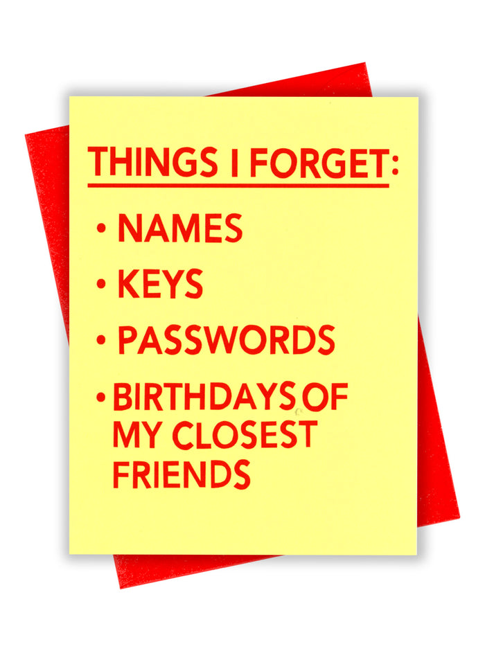 Things I Forget