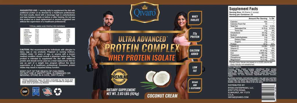 QPC08B - 超級健肌乳清蛋白粉(椰香)– 924 克ULTRA ADVANCED PROTEIN COMPLEX WHEY PROTEIN ISOLATE (COCONUT CREAM) By QIVARO (可兒麗)924 GRAMS