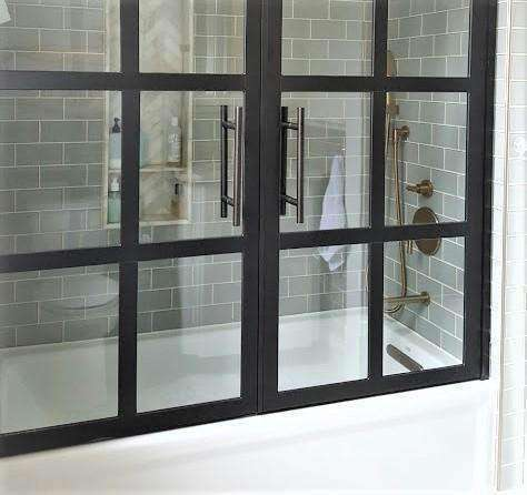 Half Glass Shower Doors For Bath Tub Sliding Hinged Tub Doors Fixed Divided Style