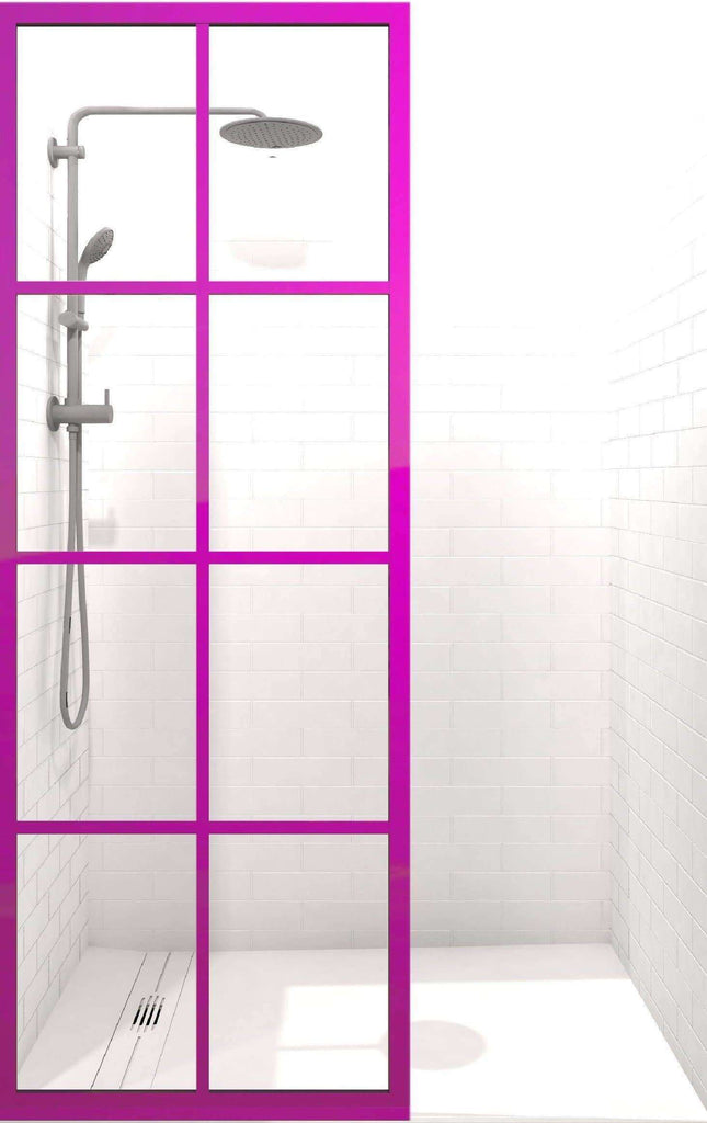 Coastal Shower Doors Gridscape GS1 Colorize Shower Screen in Fandango with Clear Glass