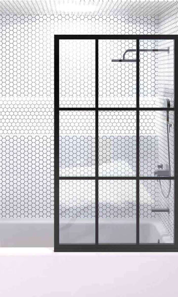 Gridscape GS1 Fixed Tub Panel Shower Screen For Bathtub in Black With Clear Glass
