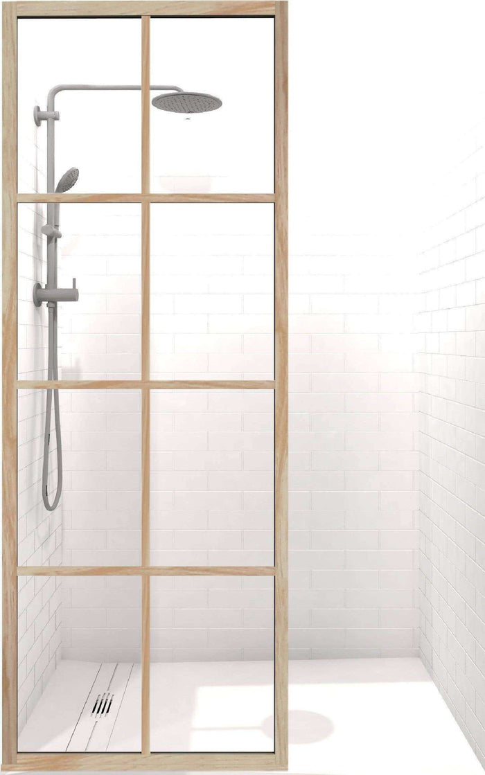 Coastal Shower Doors Gridscape GS1 Colorize Shower Screen in Bobby Berk Berk Oak with Clear Glass