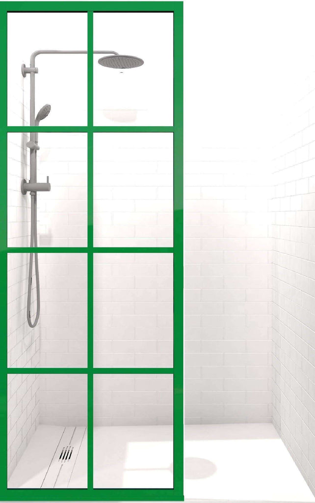 Gridscape GS1 Colorize Shower Screen in ForeverGreen with Clear Glass