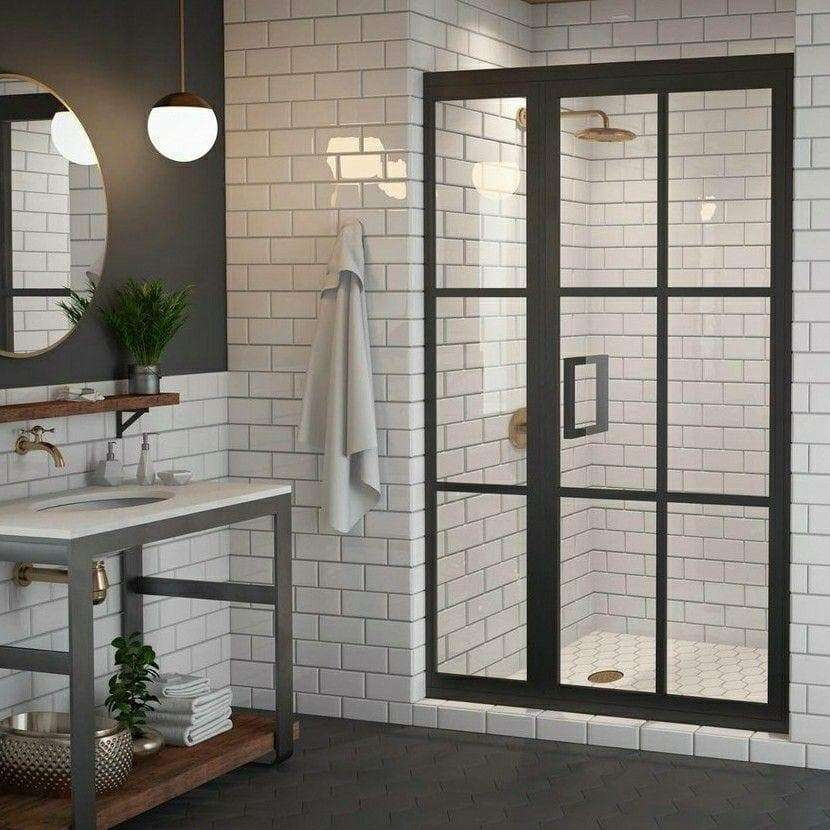 Gridscape GS1.2 Swing Shower Door and Panel in Black with Clear Glass