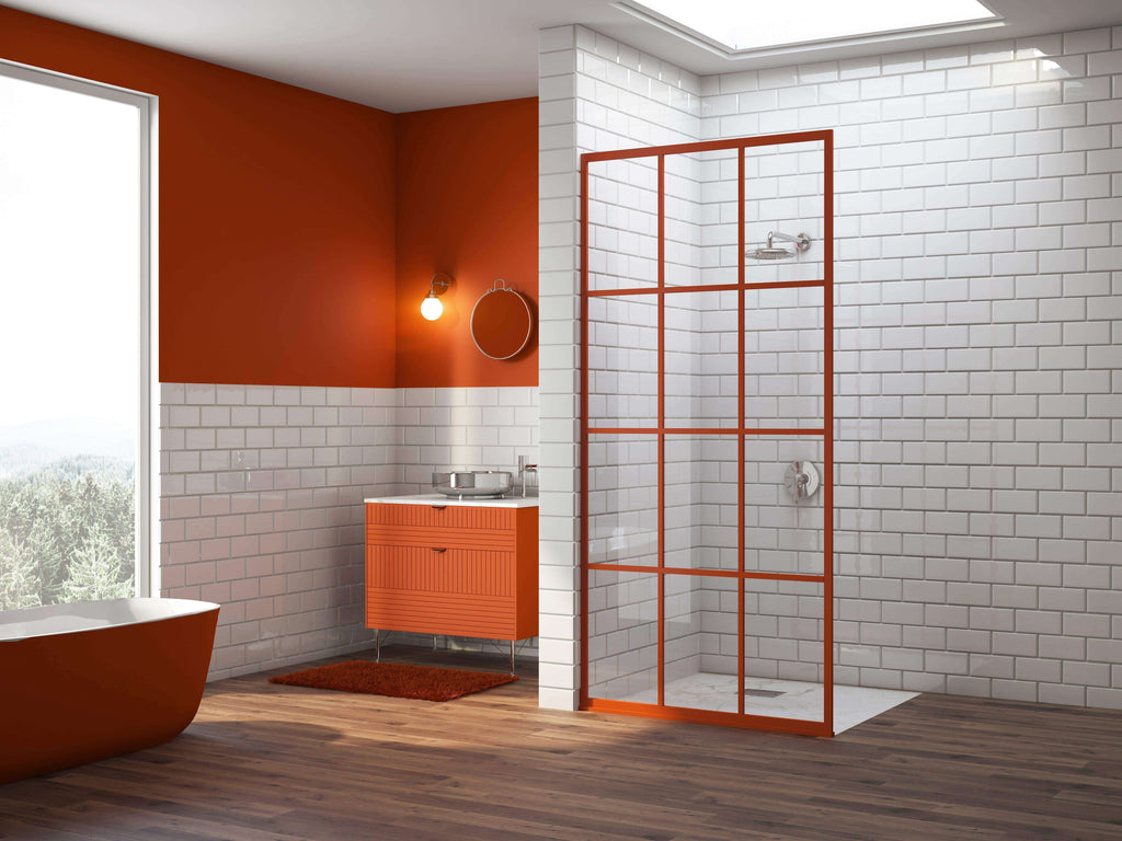 Gridscape GS1 Colorize Shower Screen in Mango Tango with Clear Glass