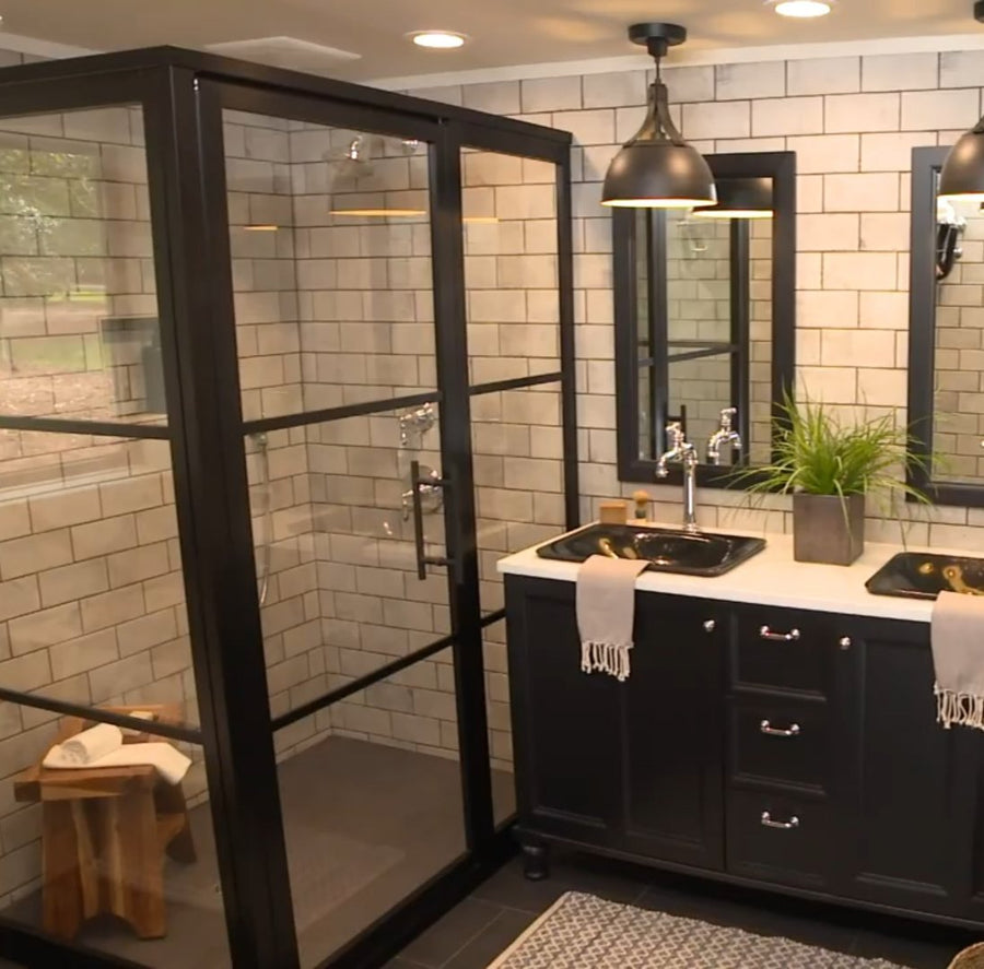 Black Fixed Panel Gridscape GS2 Shower Featured in HGTV's Misty Mill Modern Industrial Farmhouse by Chip Wade