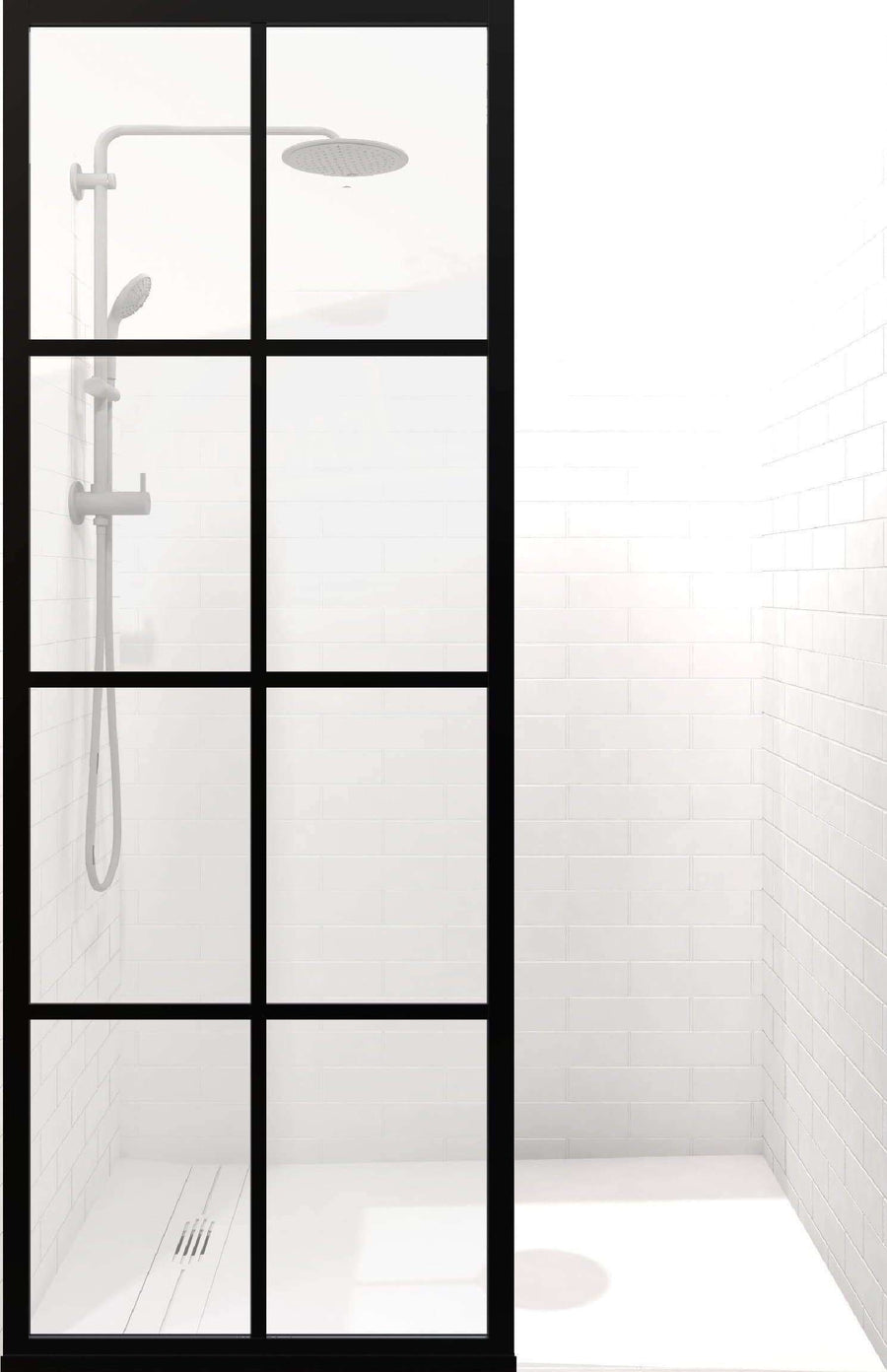 Fixed Panel Shower Door with Black Grid Frame