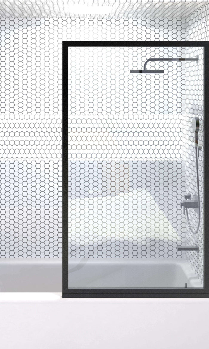 Fixed Glass Shower Panel for Tub wIth Clear Glass Black Metal Trim