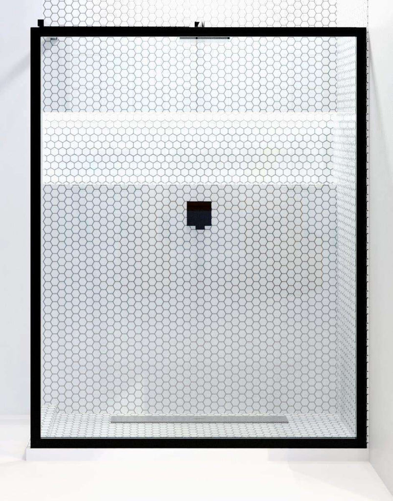 Gridscape GS3 XL Fixed Glass Shower Panel in Black Metal Frame ...